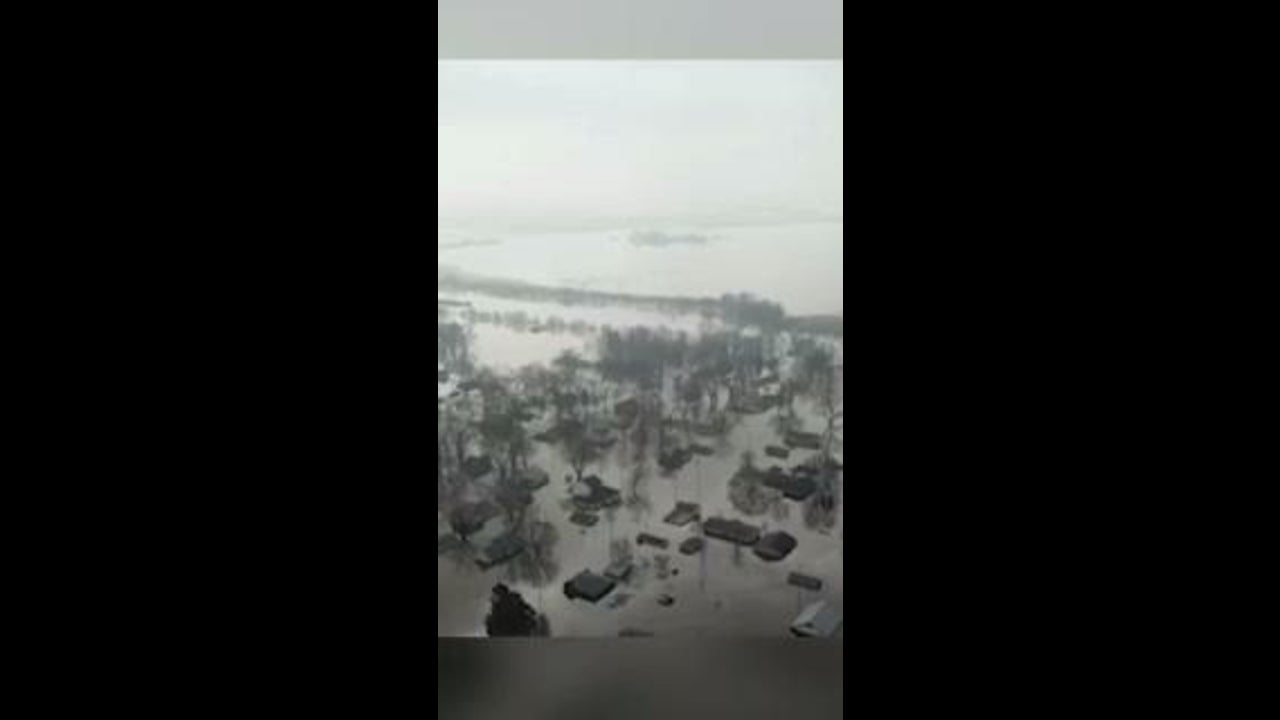 Drone Shows Flooded Neighborhood in Pacific Junction, Iowa