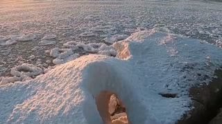 Lake Michigan Covered in Pancake Ice Formations