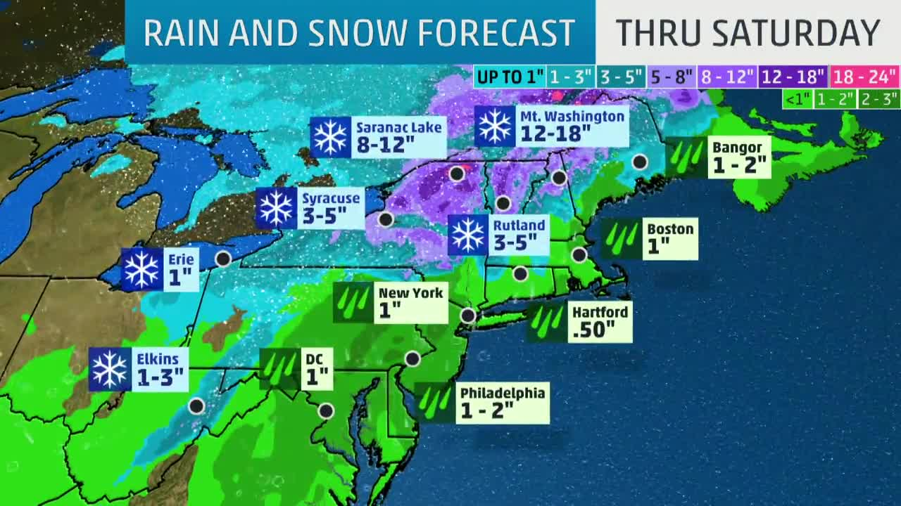 Wind, Rain and Snow Begins Today for the Northeast
