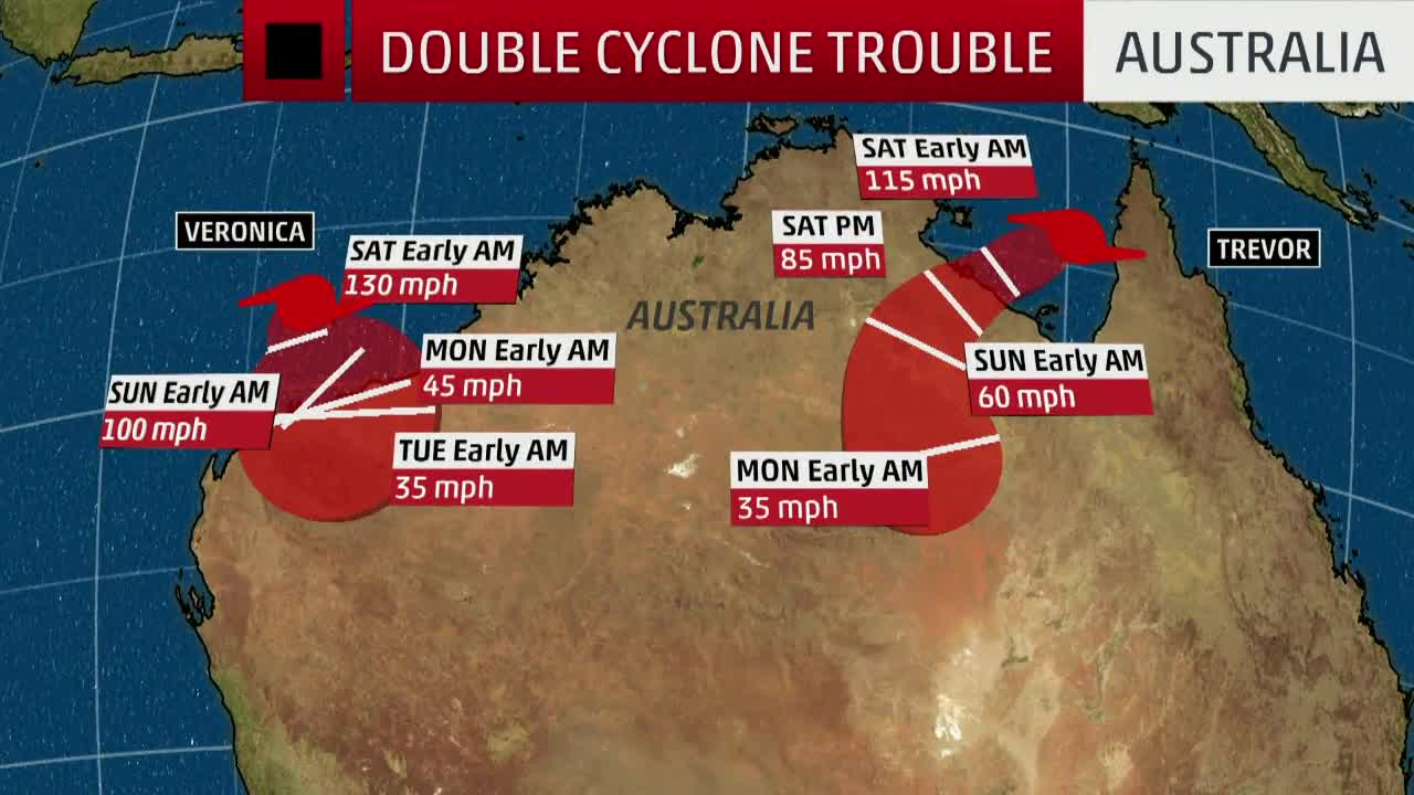 Two Tropical Cyclones Target Australia
