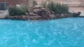 Hail Makes a Splash in Oklahoma Pool