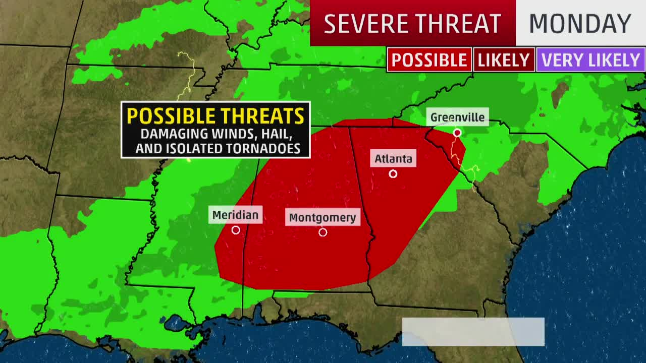 Severe Threat: Hail, Damaging Winds, Isolated Tornadoes
