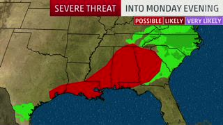 Threat of Severe Storms Moving Through the Southeast