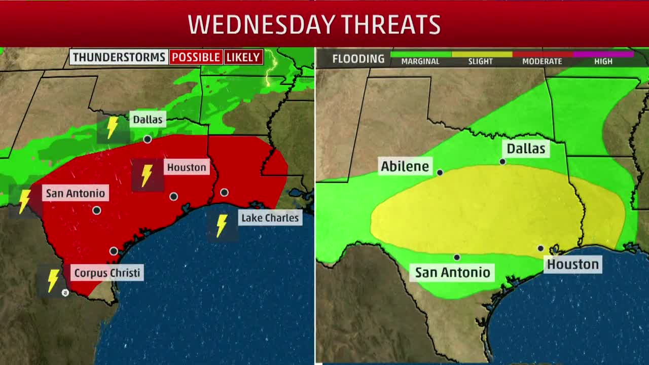 Severe Weather Threat Continues Wednesday for Texas