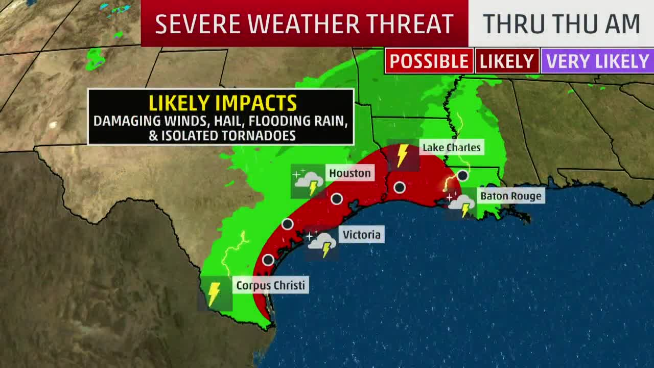 Thunderstorms, Heavy Rain to Spread From Texas to the Lower Mississippi Valley