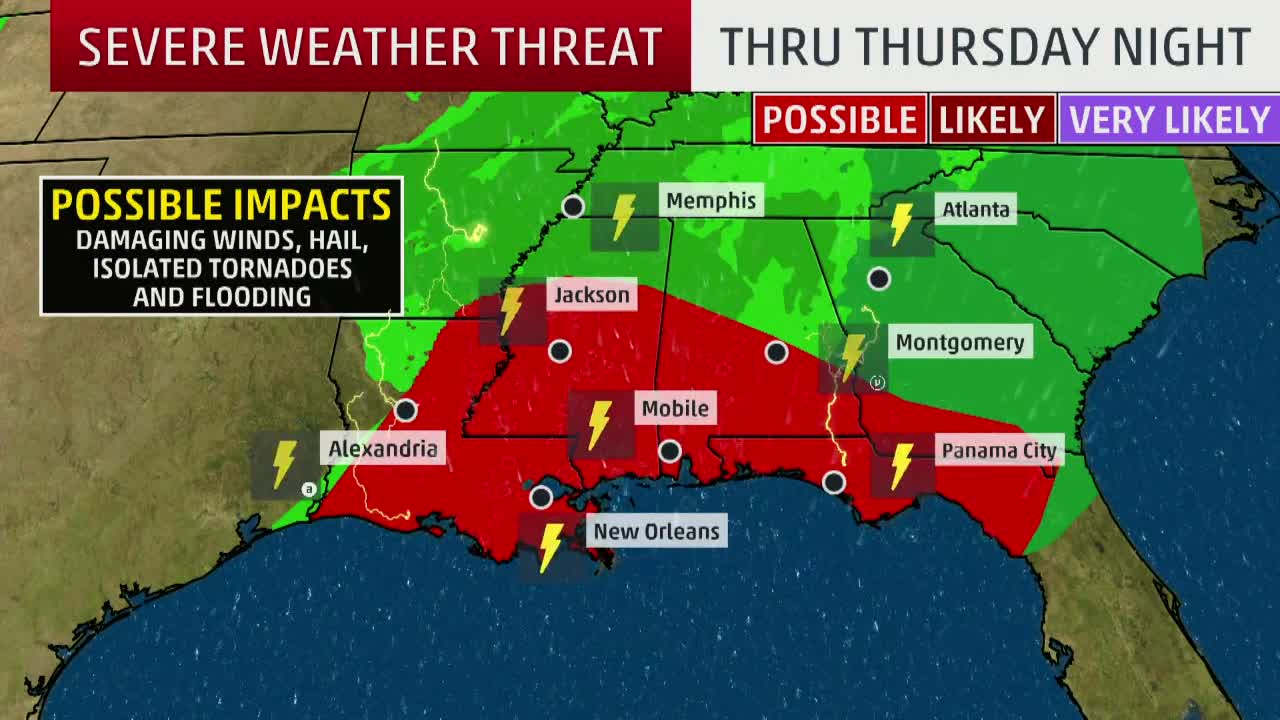 Severe Weather Threat Moves Towards the Gulf Coast