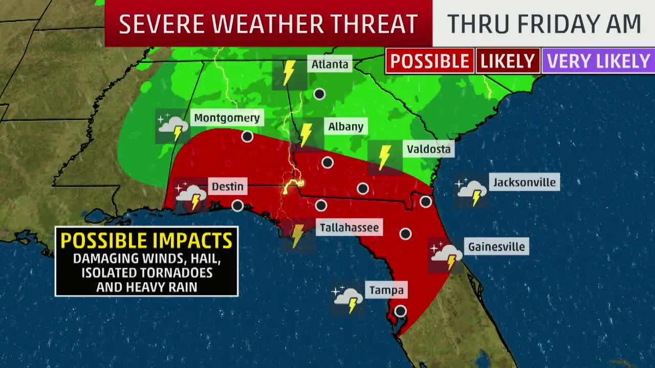 Heavy Rain, Thunderstorms to Spread Across the South