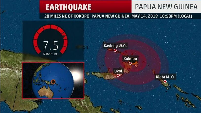 Mighty Quake Strikes off Papua Unusual Guinea