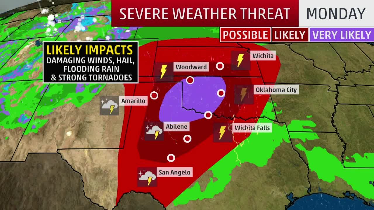 Severe Outbreak Possible Monday for Southern Plains