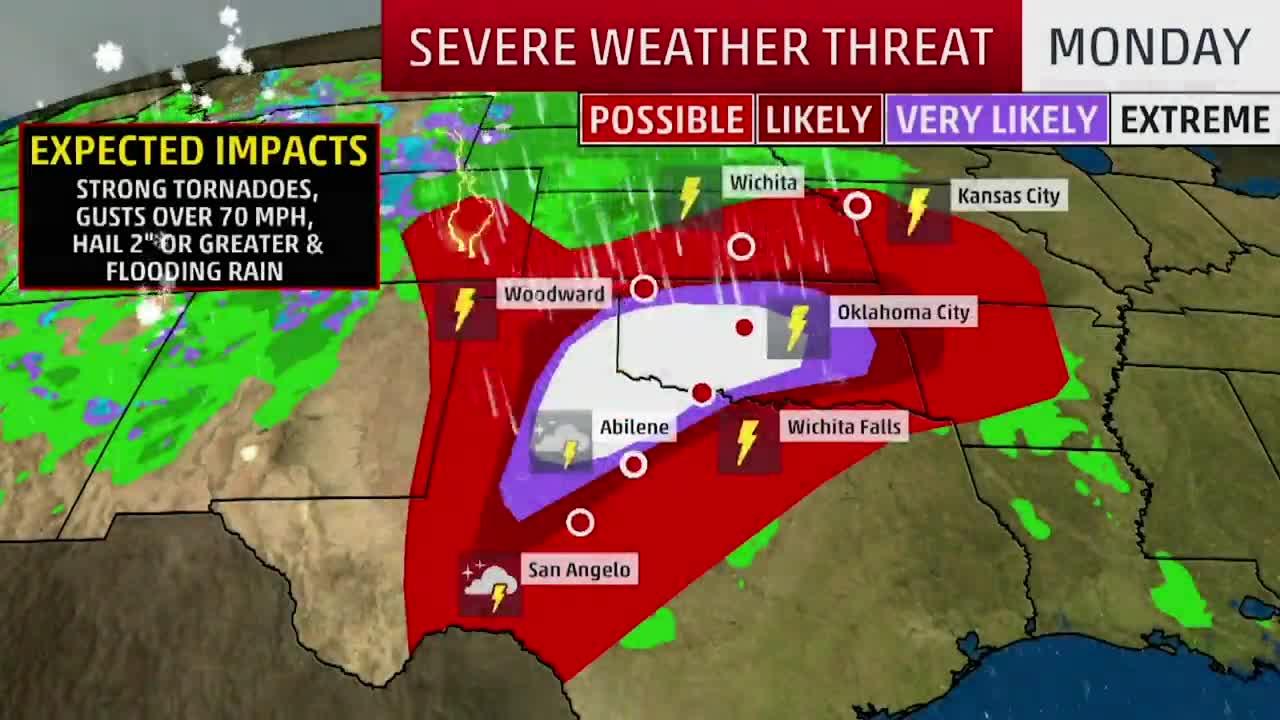 Posible serie de tornados en Texas y Oklahoma