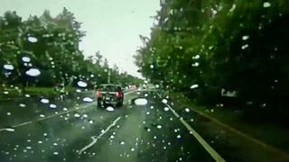 Severe storms in Eugene, Oregon, spawned lightning that caused some terrifying moments for one driver.