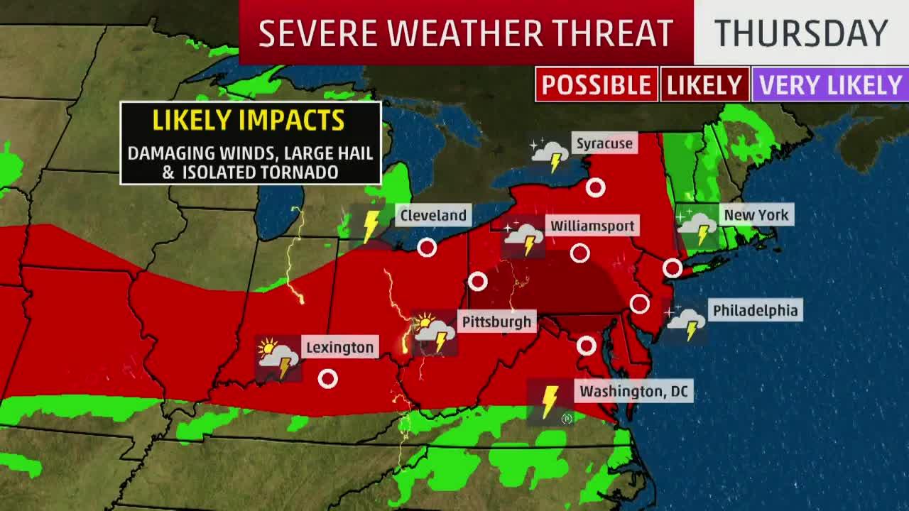 Severe Threat for Northeast Thursday