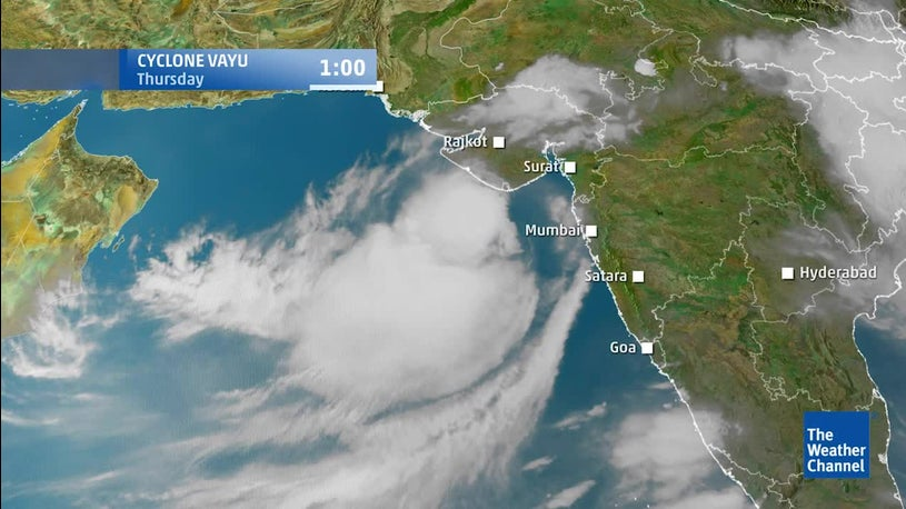 Satellite View and Forecast for Cyclone Vayu