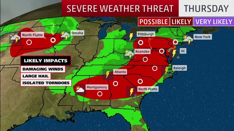 Widespread Severe and Flooding Forecast from Plains to East