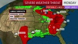 Severe Storms Possible in the South