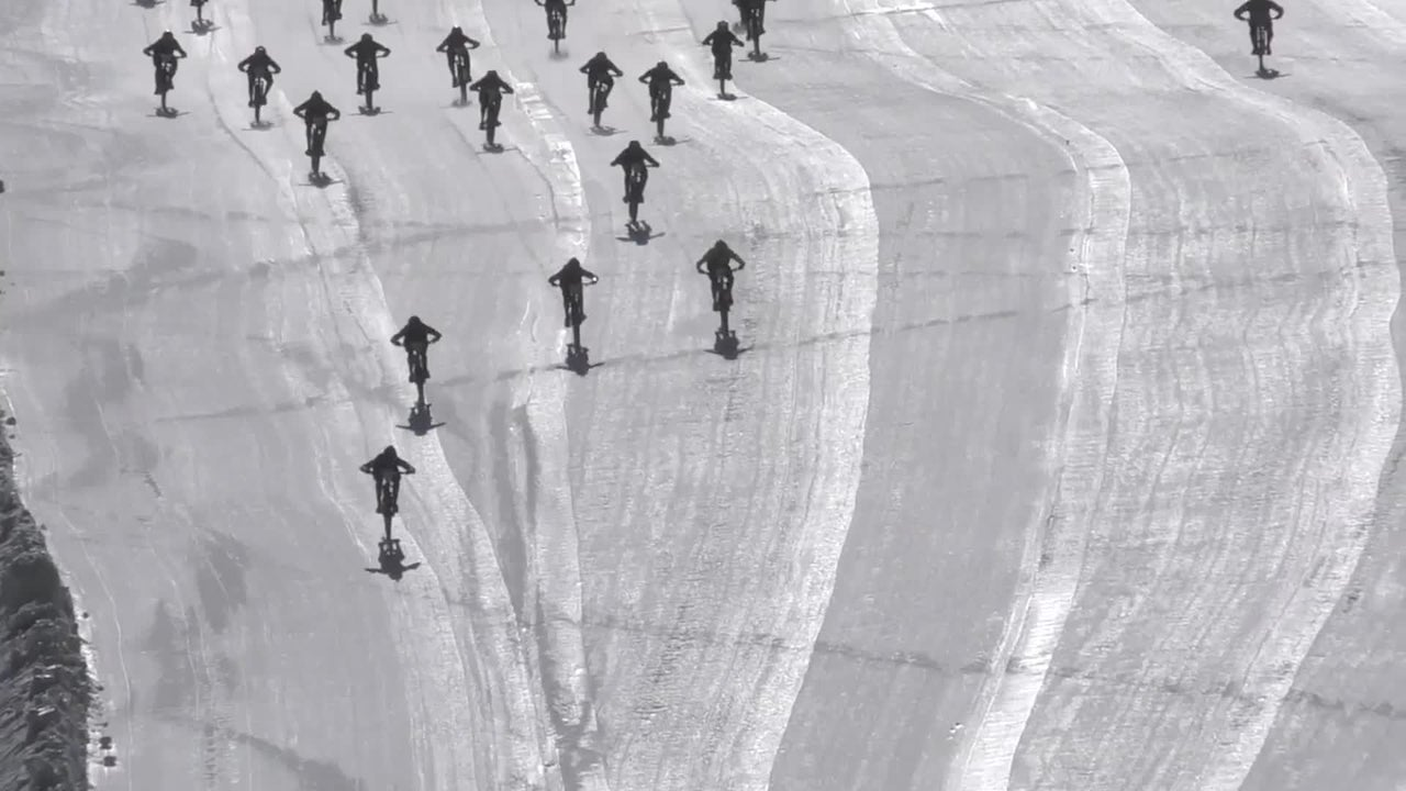 Collision Causes Chaos at Icy Bike Race