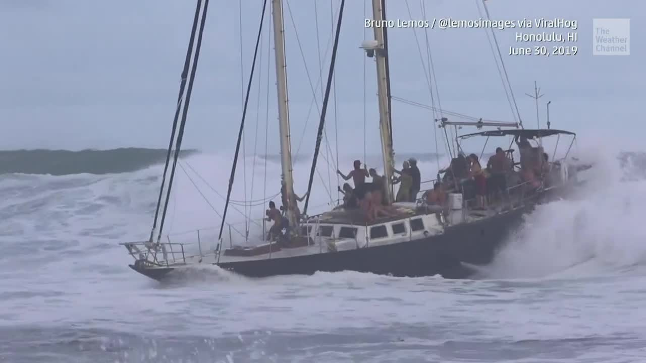 Cruise Sailboat Almost Toppled by Huge Wave