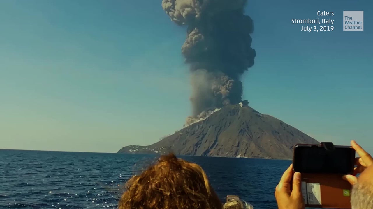 An erupting volcano in the background made for an unforgettable sailing trip off the coast of Italy.