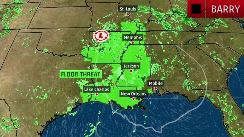 Barry Continues to Impact Mississippi River Valley to the Ohio Valley