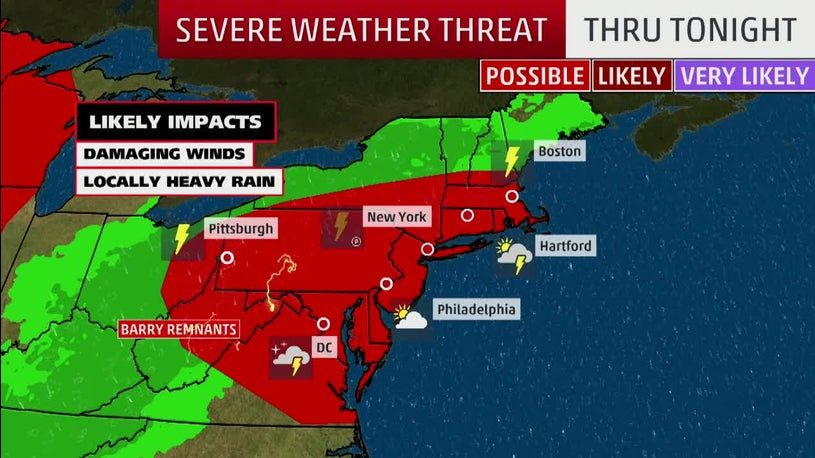 Northeast at Risk of Damaging Winds, Heavy Rain from Barry Remnant