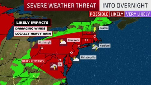 Stormy Night for Much of the Northeast