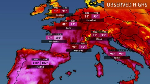 Record-Breaking Heat Across Europe Will Likely Peak Thursday