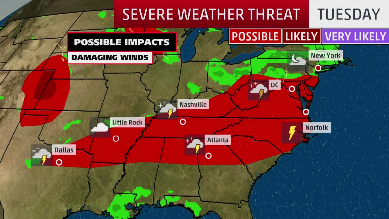 Strong Storms Could Bring Damaging Wind and Hail Through the Mid-Atlantic