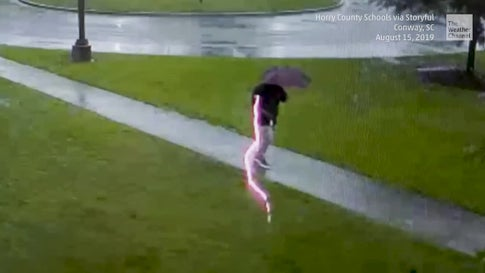 Close Call for Man During a Thunderstorm