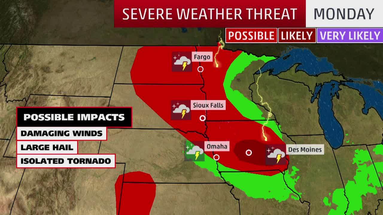 Severe Storms to Threaten Plains, Midwest and Northeast