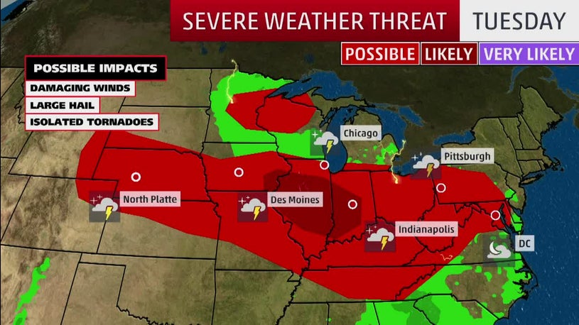Severe Storms Threaten Hail, Damaging Winds and Isolated Tornadoes