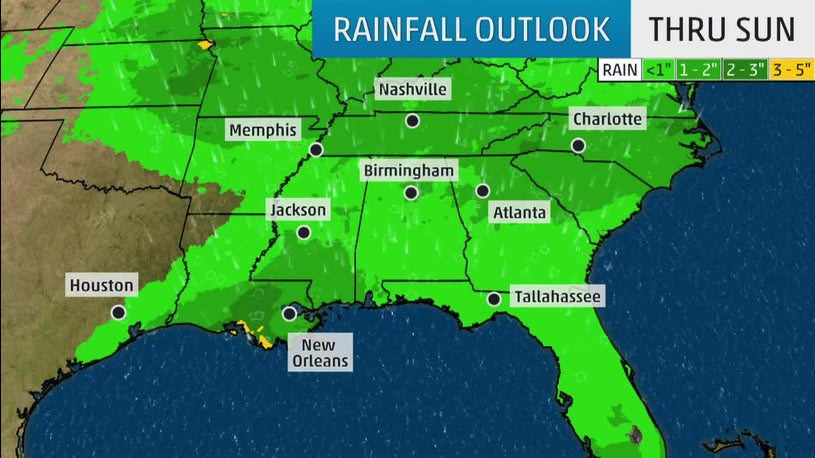 Gulf Moisture Moving into the South