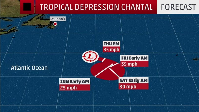 Tropical Depression Chantal Spinning in the Atlantic