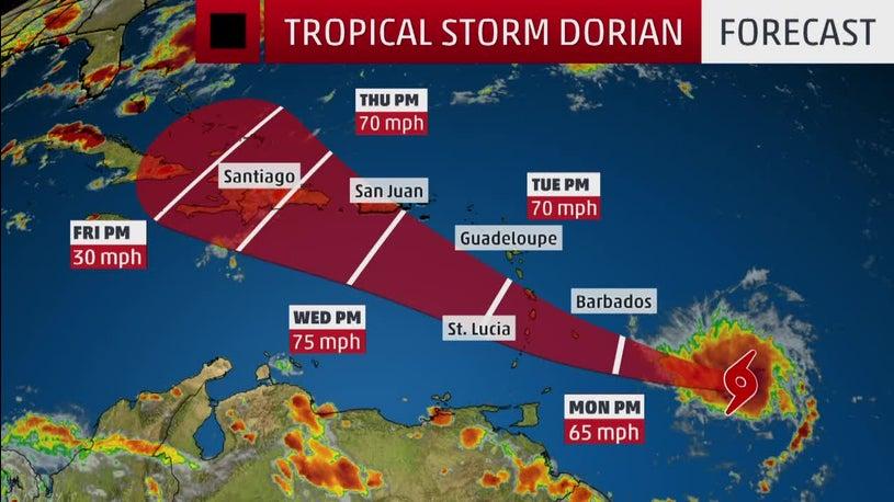 Tropical Storm Dorian Strengthens, Threatens Caribbean Islands