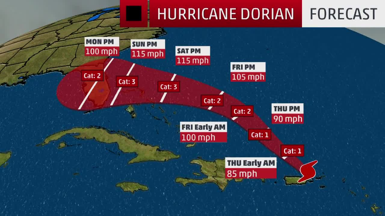 hurricane dorian expected to strengthen as it swirls north