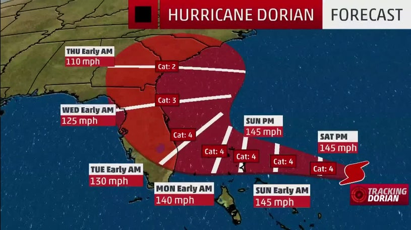 Important Changes in Forecast for Hurricane Dorian