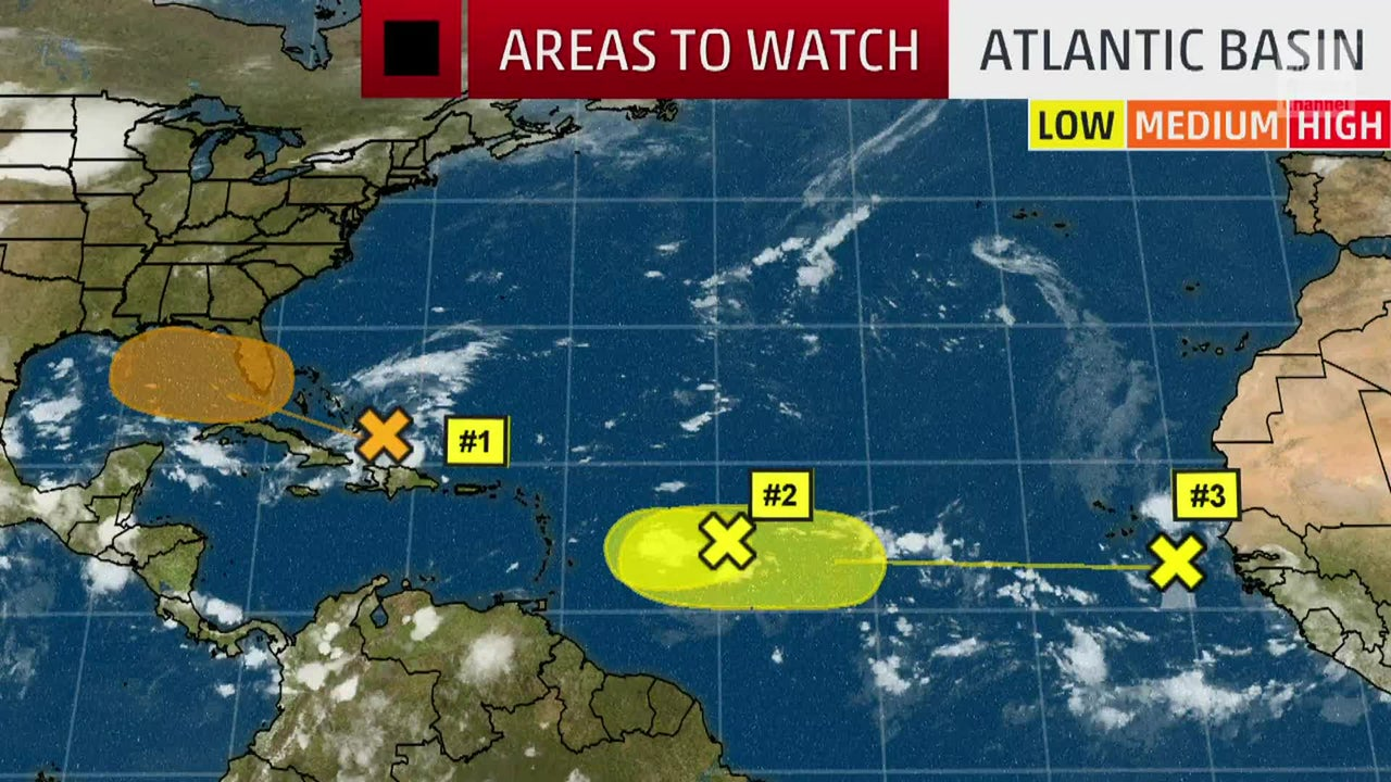 Meteorologist Domenica Davis looks at three areas of potential tropical development in the Atlantic Basin.