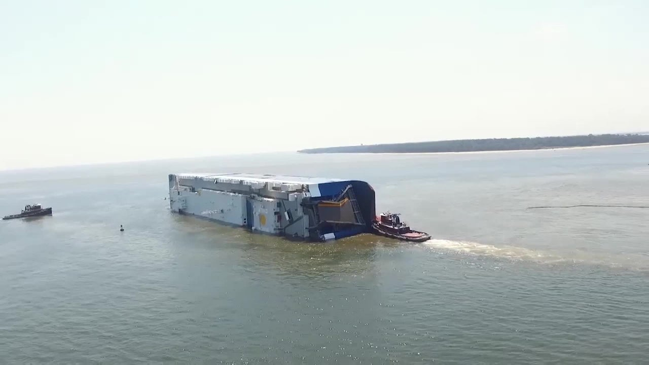 Golden Ray, a 656-foot cargo ship reportedly carrying more than 4,000 vehicles, capsized off the coast of Georgia on Sunday at St. Simons Sound. Four South Korean crew members are missing, and environmental concerns are rising.