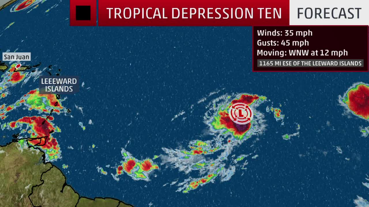 tropical depression ten forms over the central atlantic