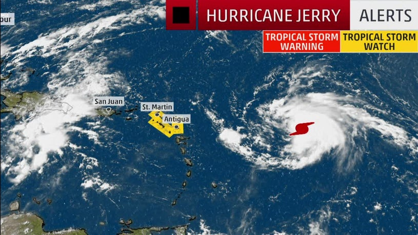 Jerry Strengthens into Hurricane