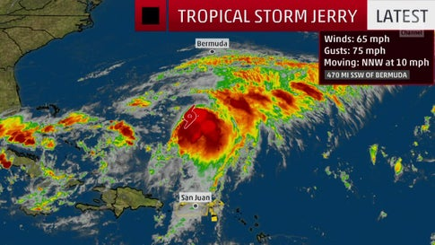 Tropical Storm Jerry Could Move Close to Bermuda this Week
