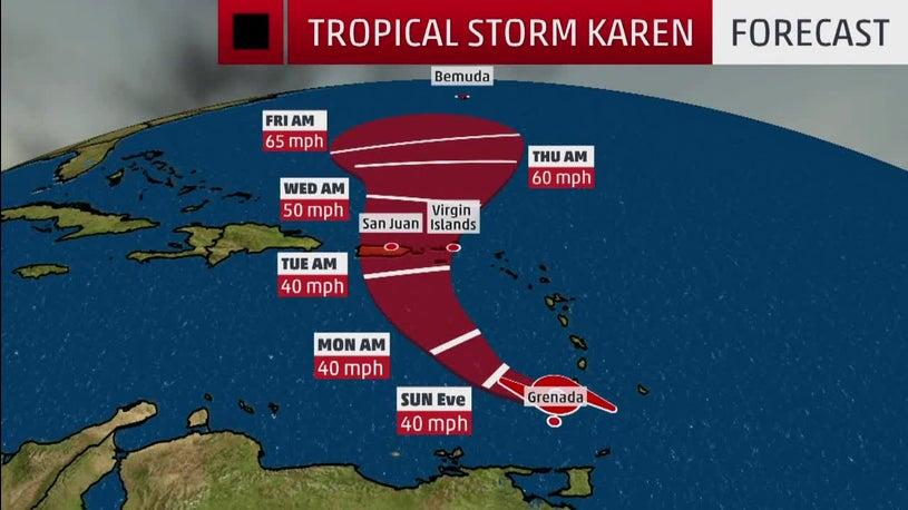 Tropical Storm Karen Forecast to Bring Heavy Rain to Puerto Rico