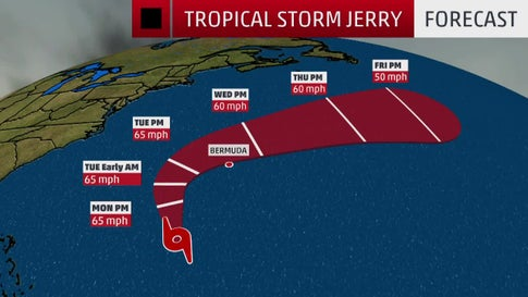 Tropical Storm Jerry Could Track Near Bermuda