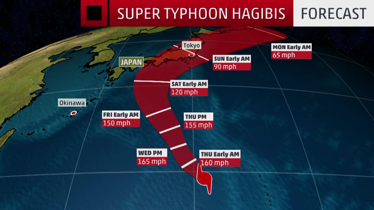 Super Typhoon Hagibis Expected to Impact Japan This Weekend