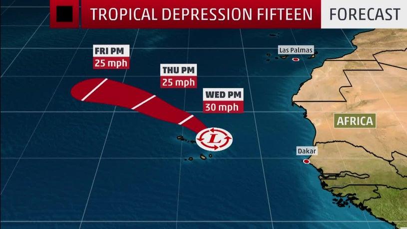 Tropical Depression Fifteen Bringing Rain to Cabo Verde Islands