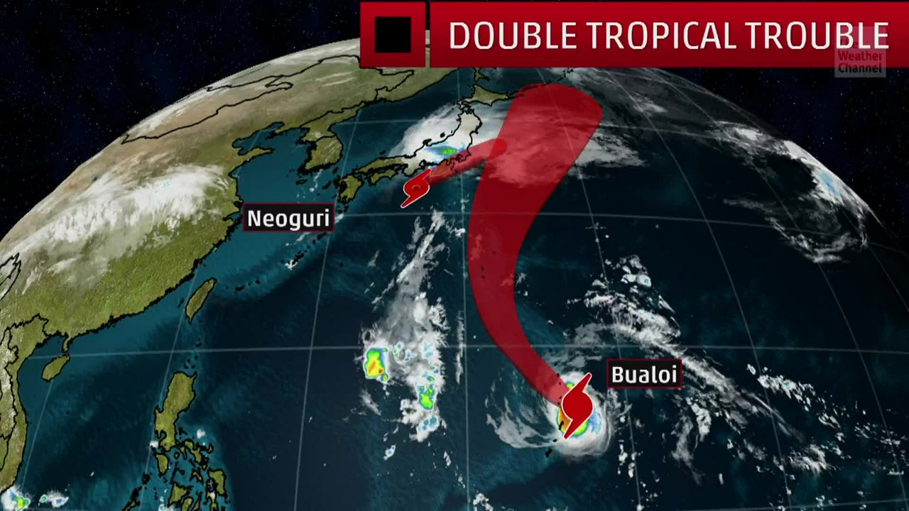 Meteorologist Ari Sarsalari takes a look at two big storms currently in the Western Pacific.