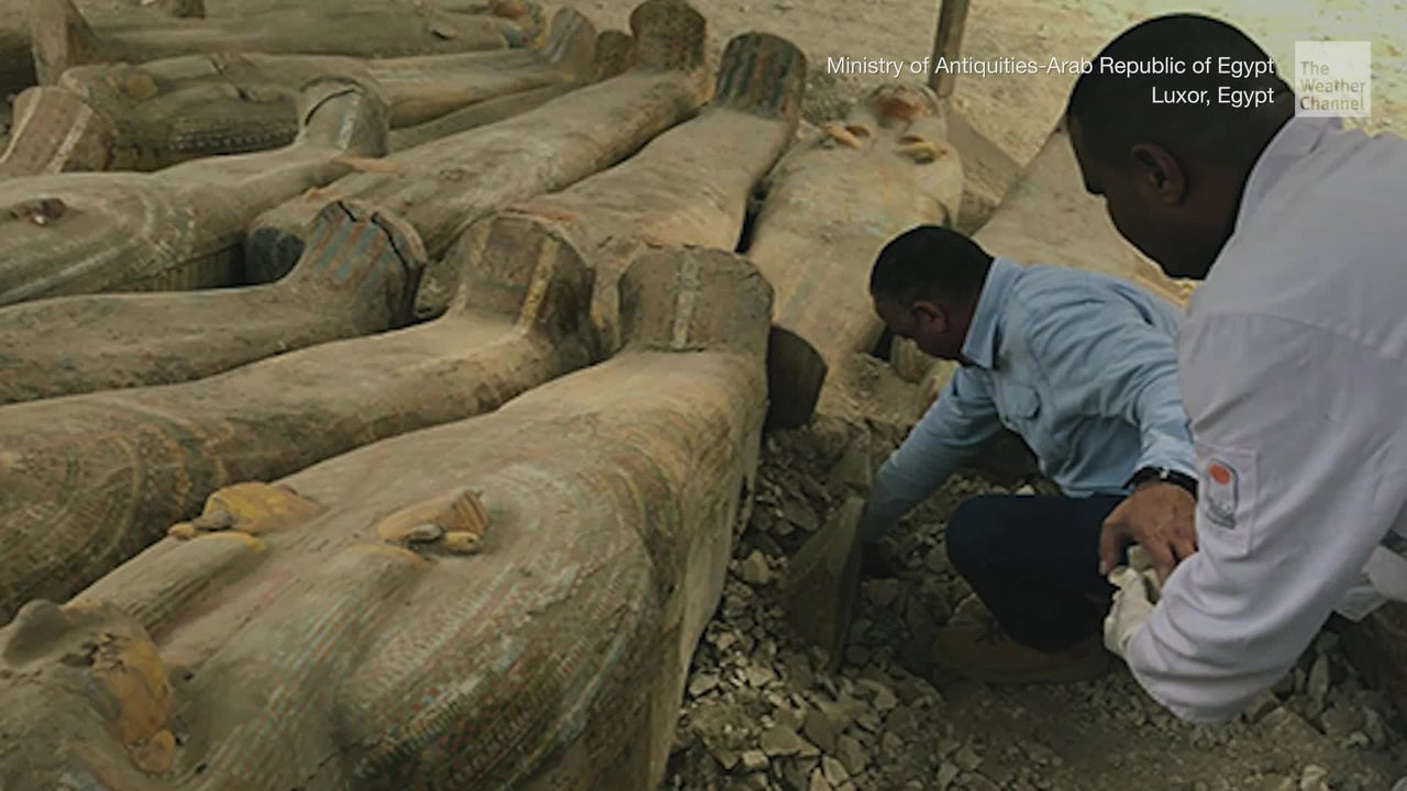 Archaeologists in Egypt discover dozens of coffins holding well-preserved mummies dating back to the 10th century B.C.