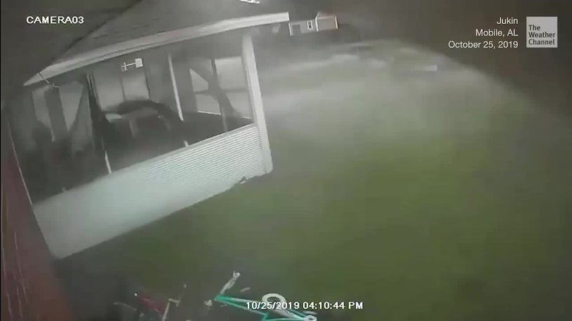 Surveillance Cameras Capture Tornadoes Touch Down in Mobile, Alabama