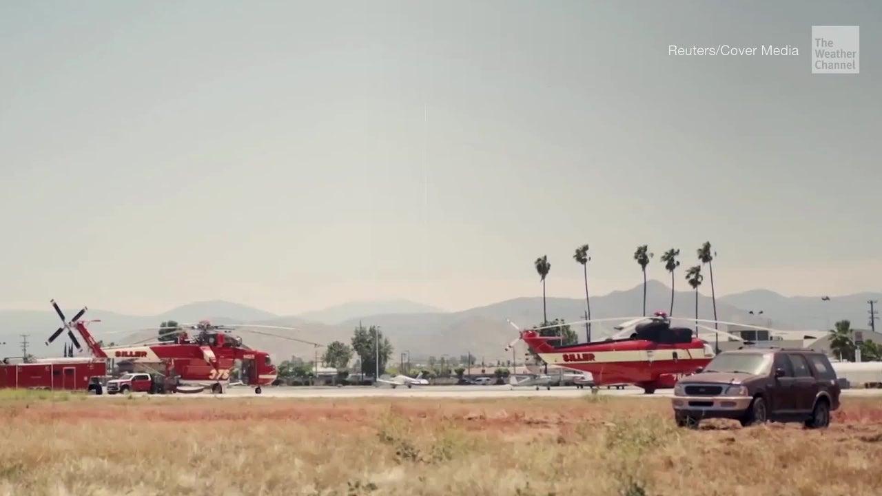 Feuerschutzmittel, das für ein Lauffeuer hergenommen wird, hat mehr Kraft als gedacht. 4000 Kilogramm davon können einen SUV demolieren.