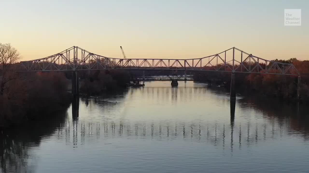 An explosions brings down an 88-year-old historic bridge is Arkansas.