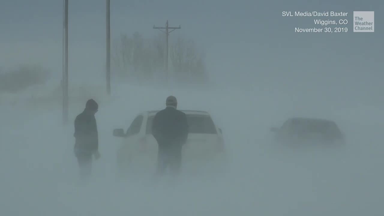 A winter storm stirred snow that had already fallen in Wiggins, CO, creating dangerous driving conditions on area highways.
